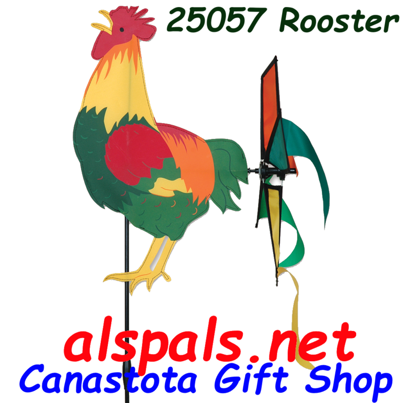 "# 25057 :  Rooster Petite & Whirly Wing Spinner   upc# 63010425057 19"" by 12.75"" ​ ​"