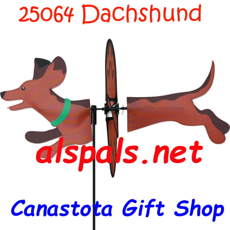 "# 25064 :  Dachshund Petite & Whirly Wing Spinner   upc# 63010425064 19"" by 12.75"" ​ ​"