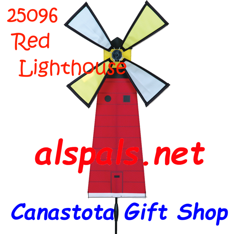 "# 25096 : Red Lighthouse Petite & Whirly Wing Spinner   upc# 63010425096 12"" by 21"" ​ ​"