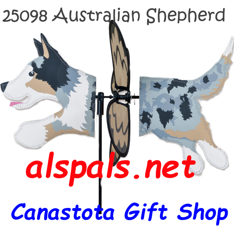 "# 25098 : Austalian Shepherd Petite & Whirly Wing Spinner   upc# 630104250980 19"" by 12.75"" ​ ​"