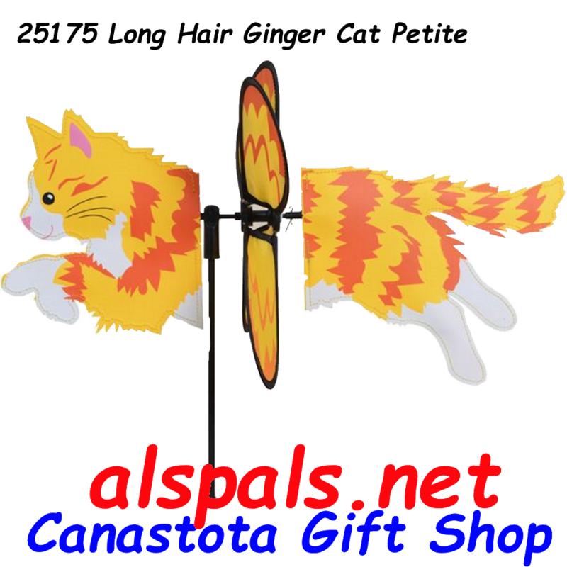 "# 25175 : Long Hair Ginger Cat Petite & Whirly Wing Spinner   upc# 630104251758 21"" by 14."""