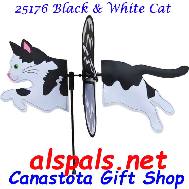 "# 25176 : Black & White Cat Petite & Whirly Wing Spinner   upc# 630104251765 19"" by 12.75"" ​ ​"
