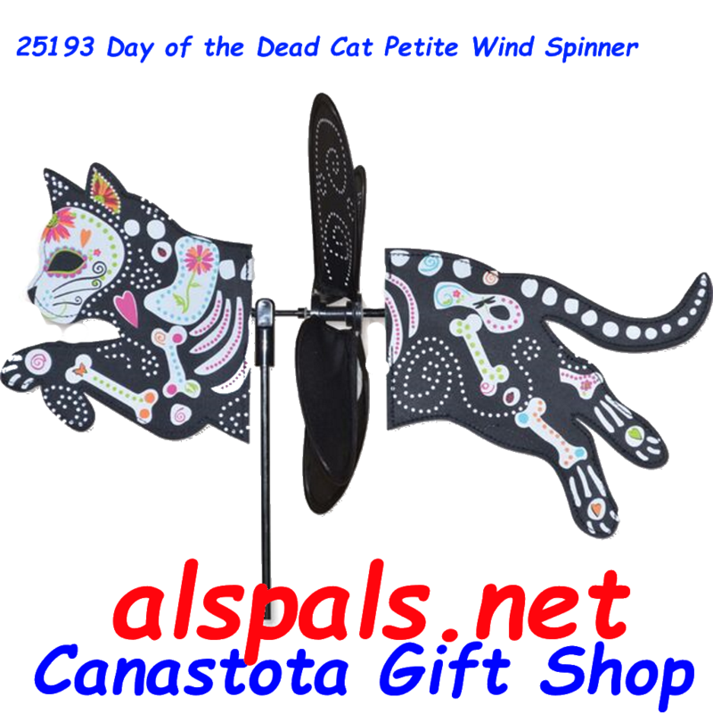 "# 25193:  Day of the Dead Cat Petite & Whirly Wing Spinner upc# 630104251932 18.25"" by 12.75"" ​ ​"