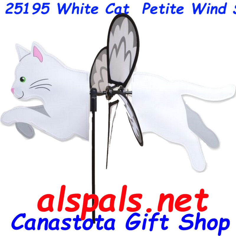 "# 25195 : White Cat Petite & Whirly Wing Spinner   upc# 630104251956 19"" by 12.75"""