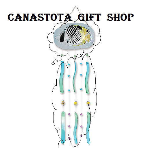 # 81112 : Threadfin Butterfly  Tropical Fish Glass Chimes  upc #  63010481112