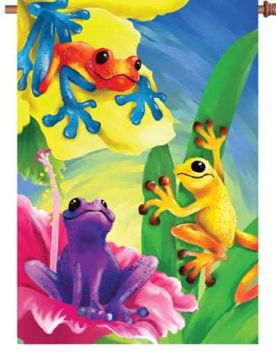 #51436:Colorful Frogs:Brilliance Flag upc #630104514365